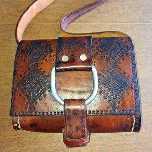 VTG Artisan Leather Tooled Western Purse Bag